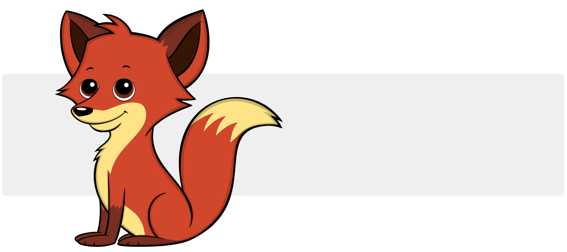 Cute Cartoon Fox - A cute smiling red, brown and cream colored cartoon fox with pointy ears and a large bushy tail.