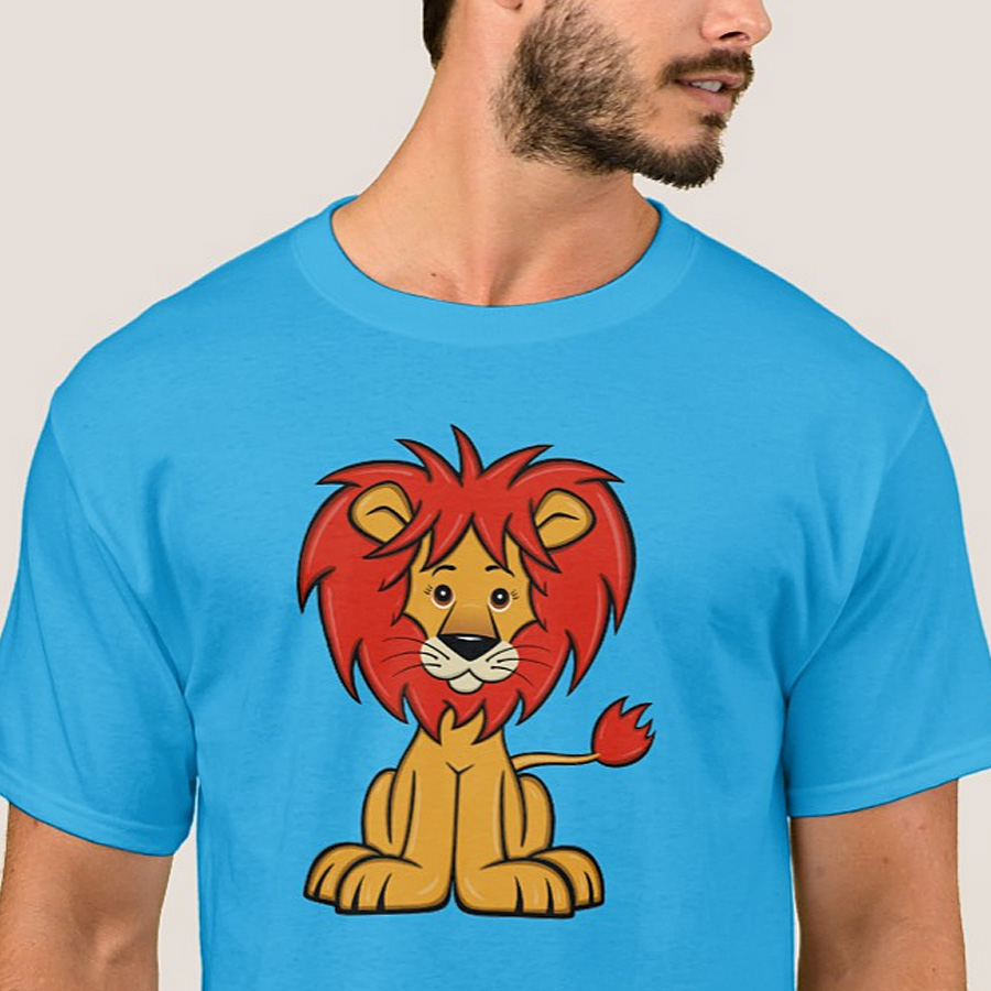 Cute Cartoon Lion Men's T-Shirt