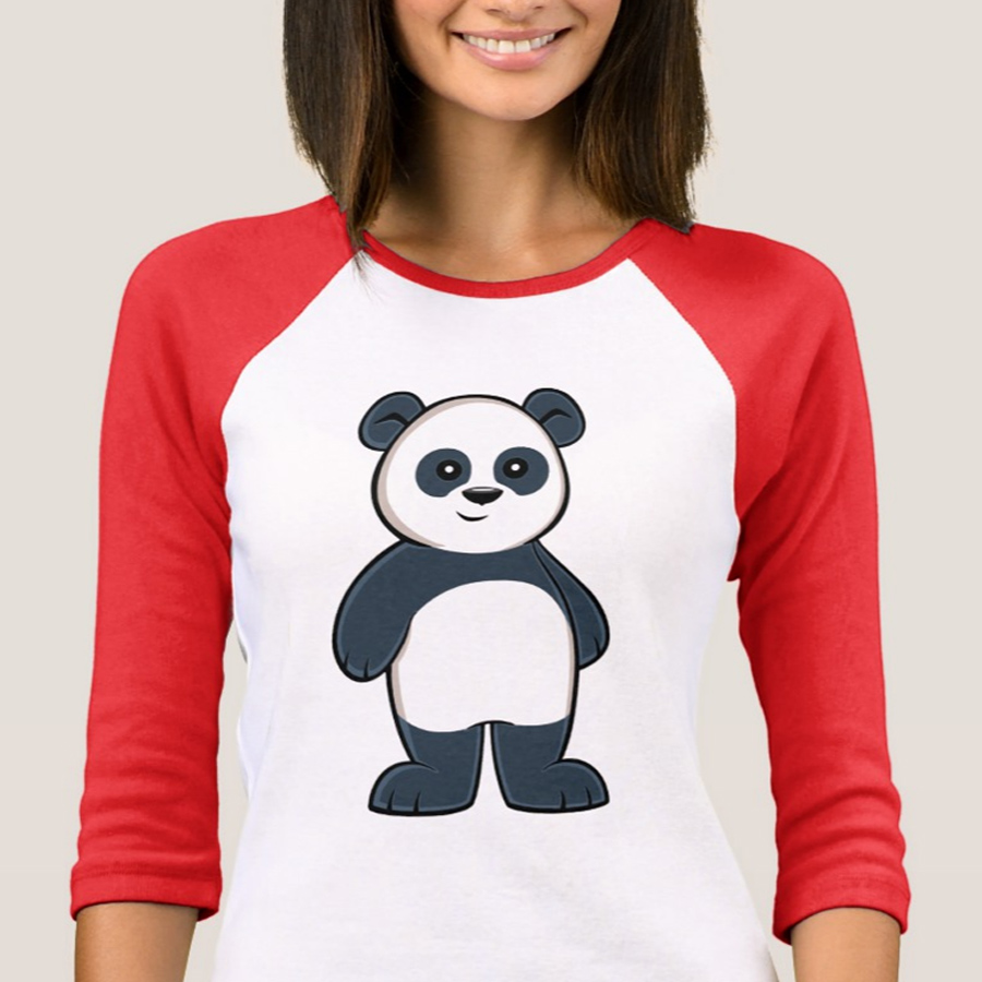 Cute Cartoon Panda Women's 3/4 Sleeve T-Shirt