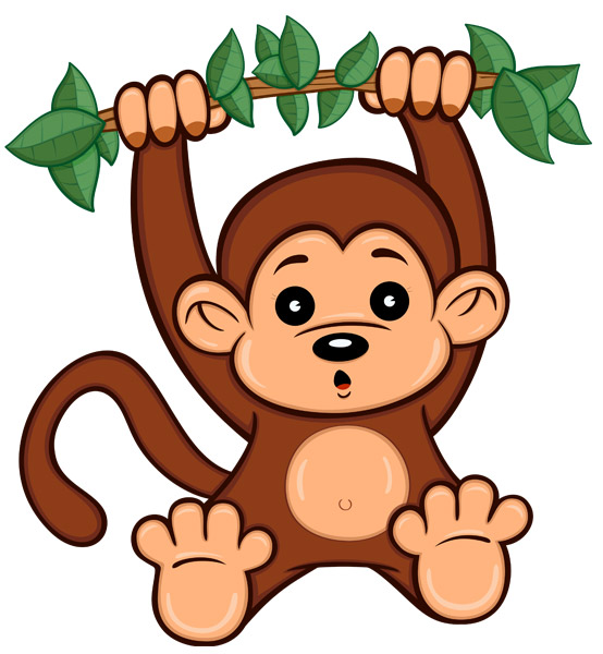 Cute Cartoon Monkey - A cute brown cartoon monkey with big eyes and a long tail swinging from a brown tree branch with green leaves.